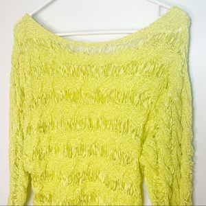 Moth Anthropologie open knit yellow boatneck top M